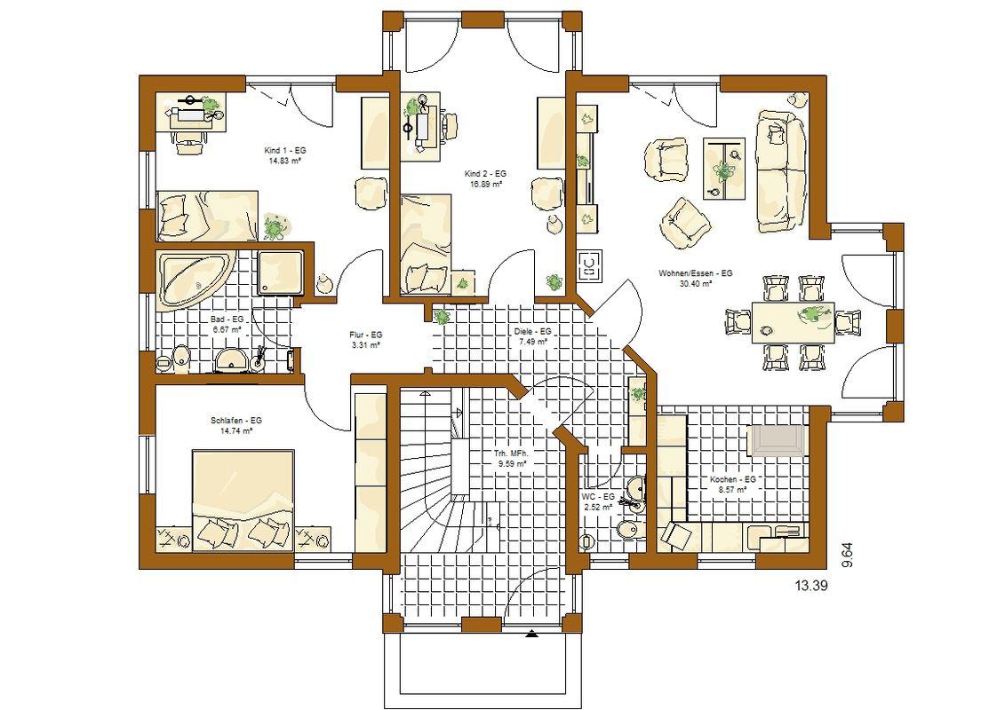 Musterhaus Valencia - Eine Nahaufnahme von einer Karte - Gebäudeplan