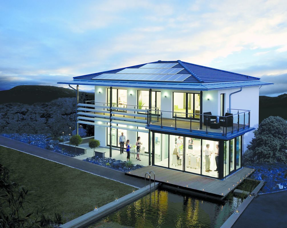 Musterhaus Fellbach Architekturline SETROS - Ein großes weißes Gebäude - Haus