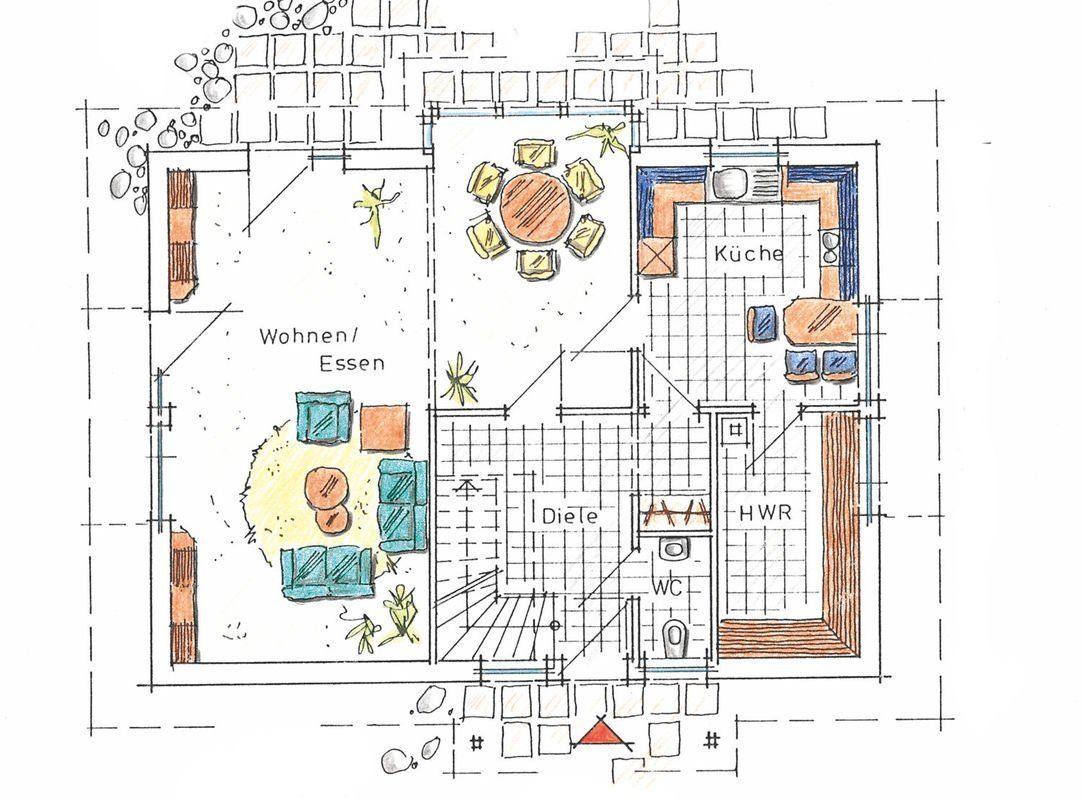 Musterhaus Sabrina - Eine Nahaufnahme von einer Karte - Gebäudeplan