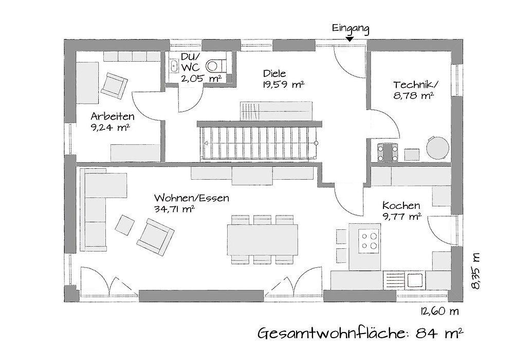 Musterhaus Mühlheim-Kärlich - Eine Nahaufnahme von einer Karte - Gebäudeplan