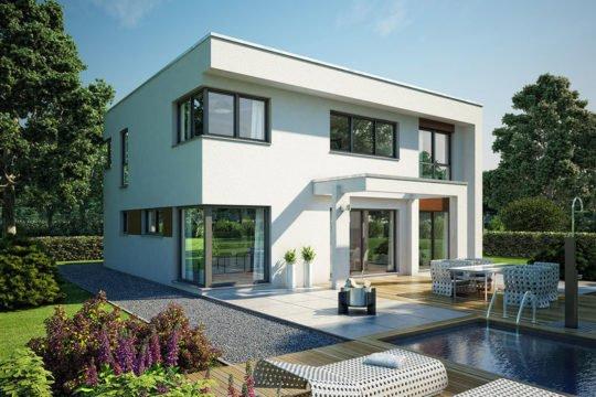 ELK Effizienzhaus 189 - Ein Haus mit Bäumen im Hintergrund - ELK Fertighaus GmbH