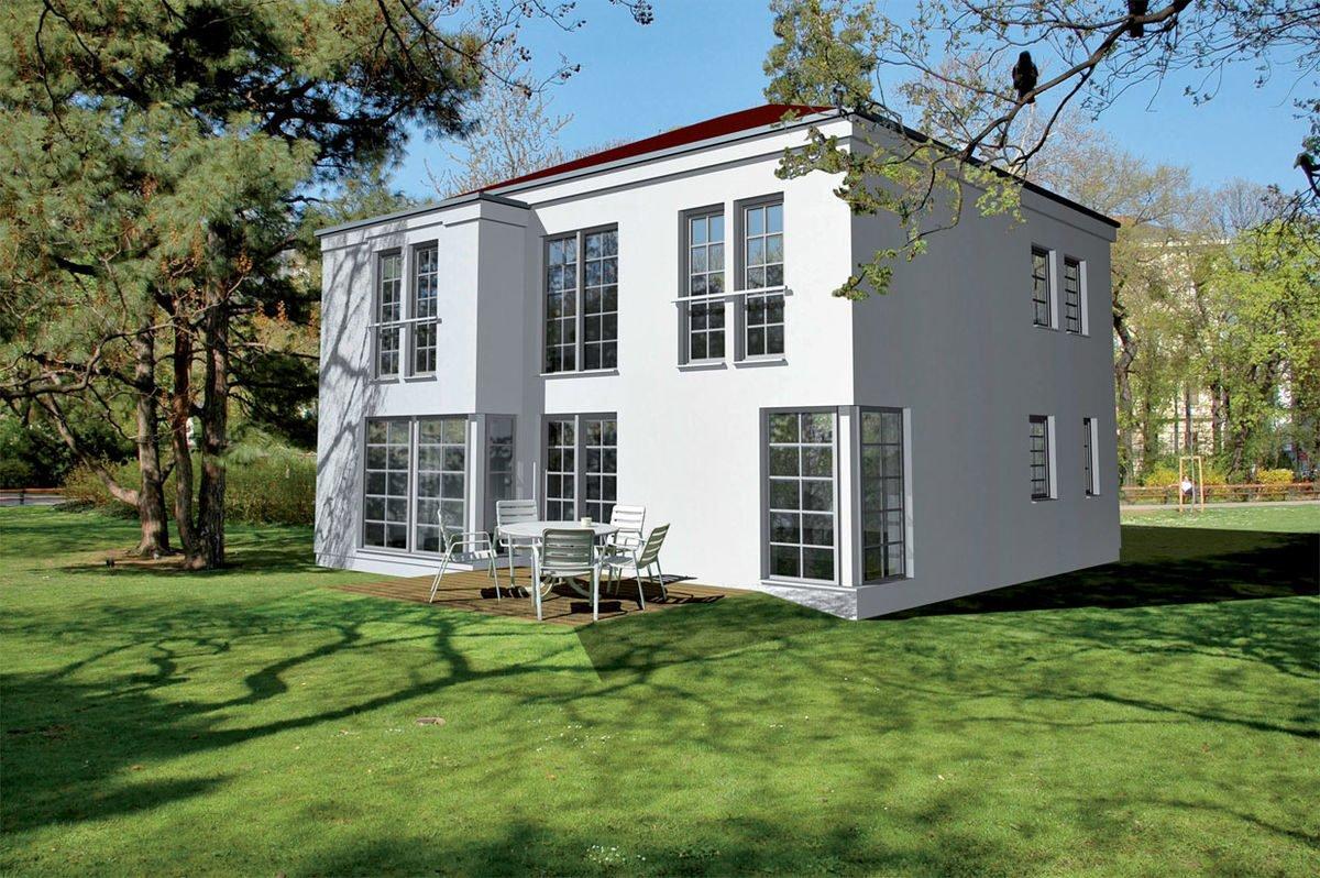 Passivhaus EOS 173 - Eine große Wiese vor einem Haus - Haus