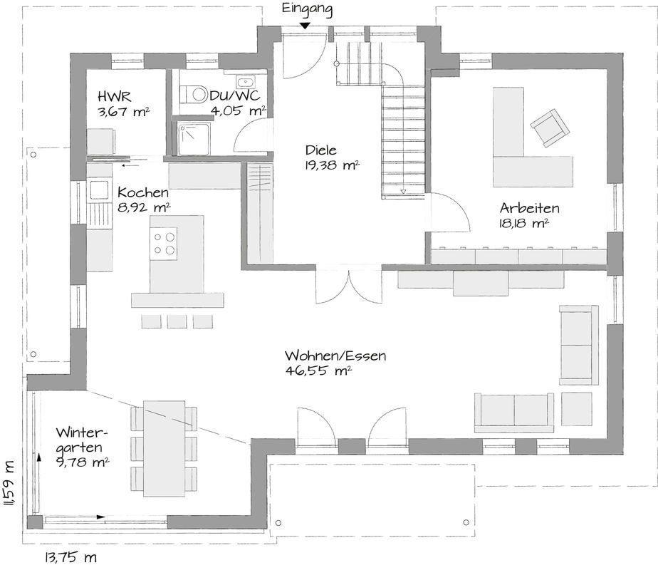 Musterhaus Poing-Grub - Eine Nahaufnahme von einer Karte - Gebäudeplan