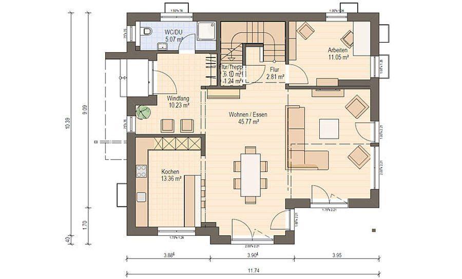 Musterhaus Suhr 179 - Eine Nahaufnahme von einer Karte - Gebäudeplan