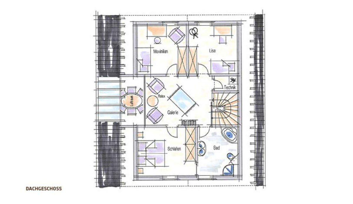 Musterhaus Fellbach - Eine Nahaufnahme von einem Logo - Gebäudeplan