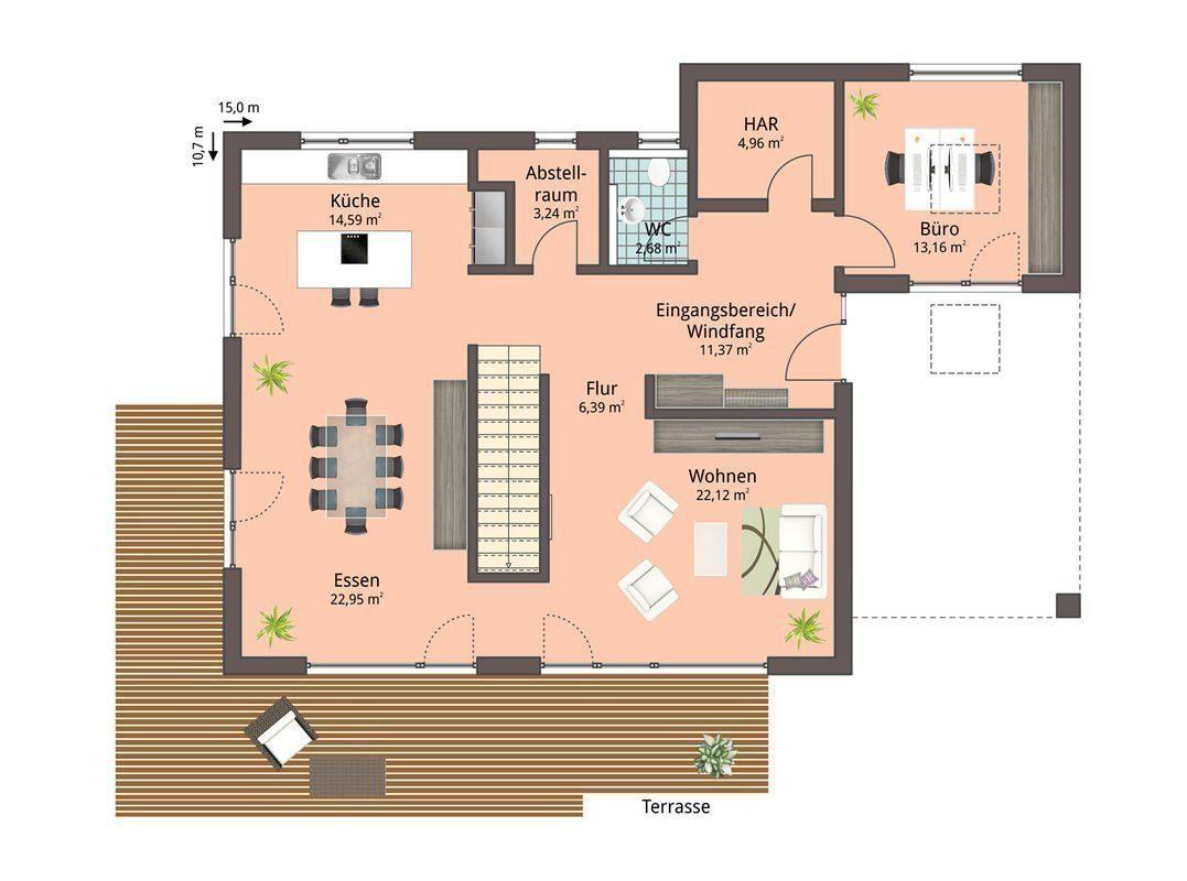 Musterhaus Fellbach - Ein Screenshot eines Videospiels - Gebäudeplan