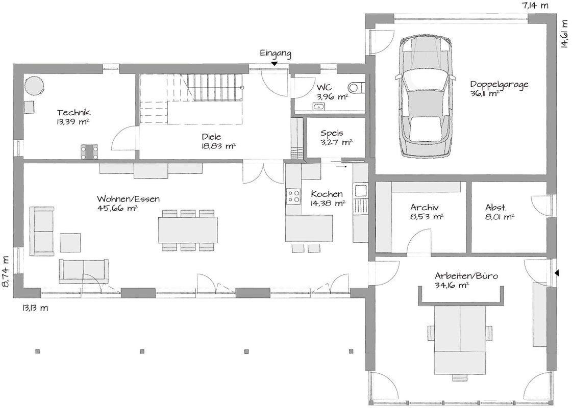 Musterhaus Fellbach Architekturline SETROS - Eine Nahaufnahme von einer Karte - Gebäudeplan