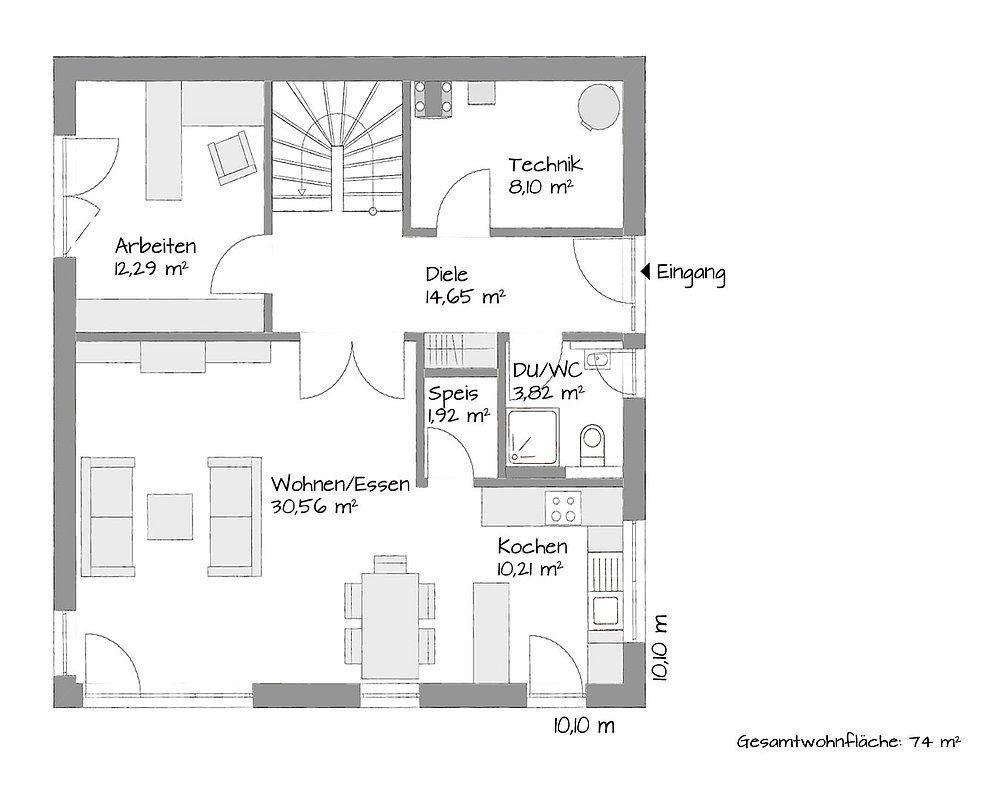 Musterhaus in Chemnitz - Eine Nahaufnahme von einer Karte - Gebäudeplan