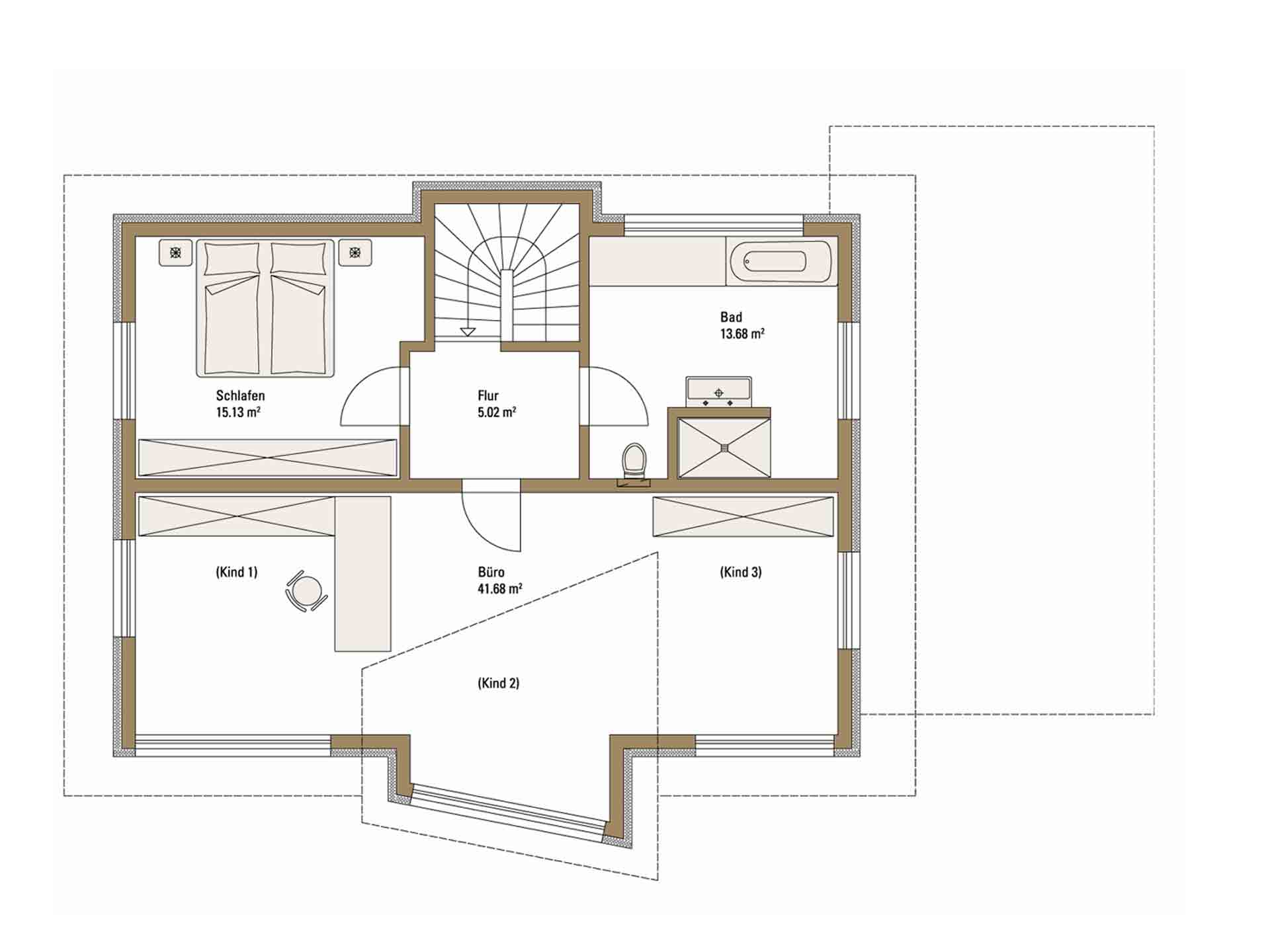 Musterhaus Erlangen - Eine Nahaufnahme von einer Karte - Gebäudeplan