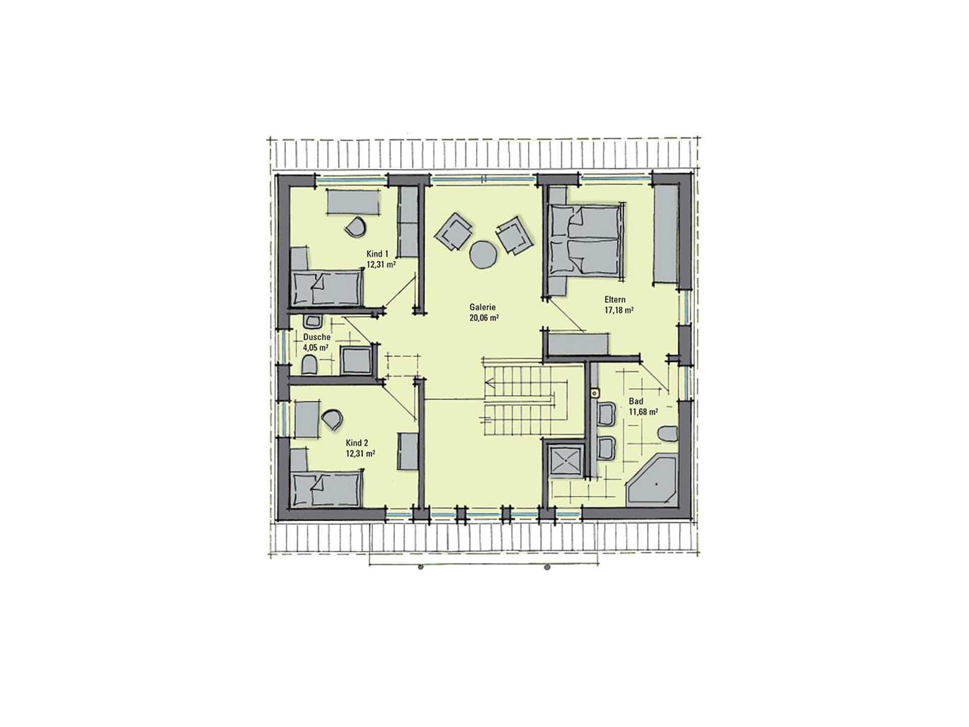 Musterhaus Diana - Eine Nahaufnahme einer Uhr - Gebäudeplan