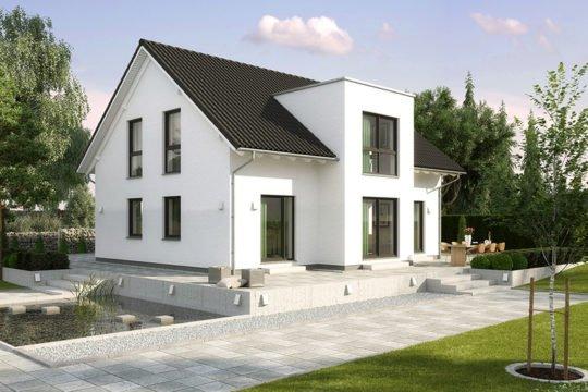 Birkenallee KfW-Effizienzhaus 40 - Eine große Wiese vor einem Haus - Satteldach