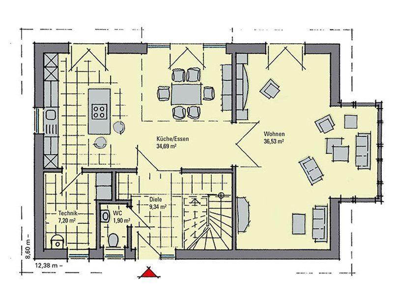 Musterhaus Evita - Eine Nahaufnahme einer Uhr - Gebäudeplan