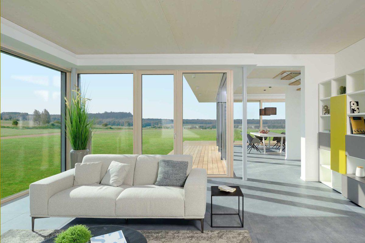 Kubos 1.2520 - Ein Wohnzimmer mit Möbeln und einem großen Fenster - Haus
