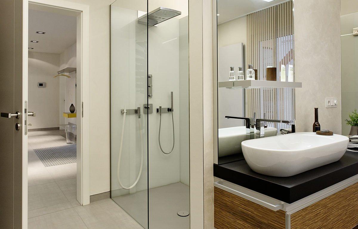 L³- Luxhaus Lifestyle Loft - Eine weiße Spüle sitzt unter einem Spiegel - Bad
