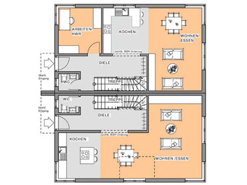 Kubus Doppelhaushälfte - Ein Screenshot eines Videospiels - Gebäudeplan