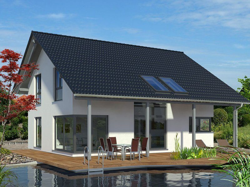 Linear - Ein Haus mit Bäumen im Hintergrund - Haus
