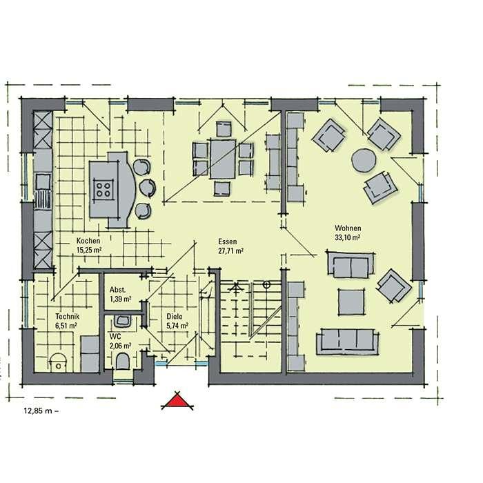 Musterhaus Svenja - Eine Nahaufnahme einer Uhr - Gebäudeplan