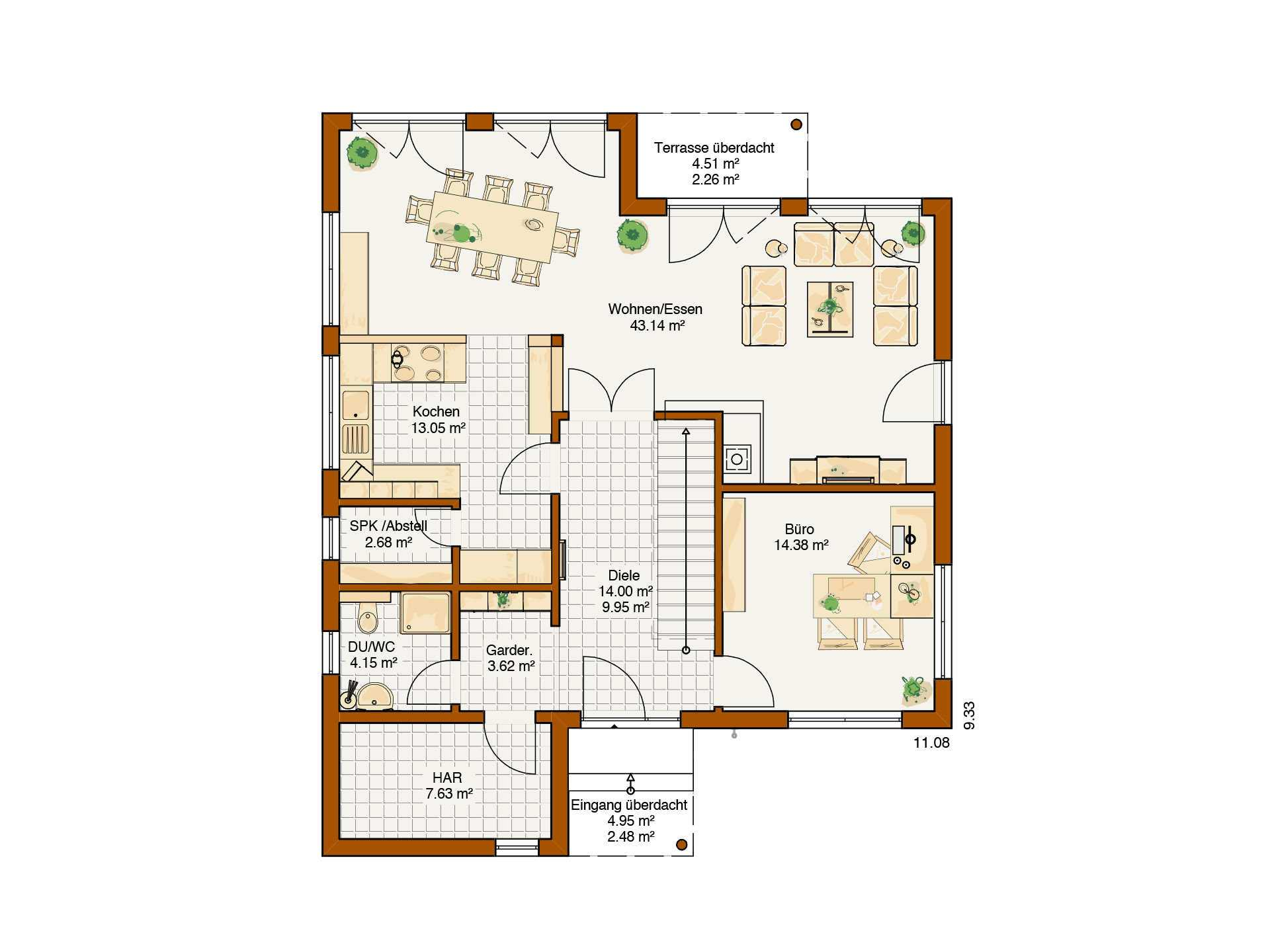 Musterhaus Avenio - Eine Nahaufnahme von einer Karte - Gebäudeplan
