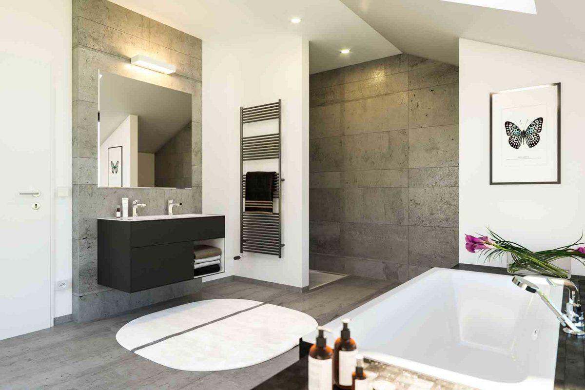 Musterhaus Fellbach – Selection-E-235 - Eine küche mit waschbecken und spiegel - Bad
