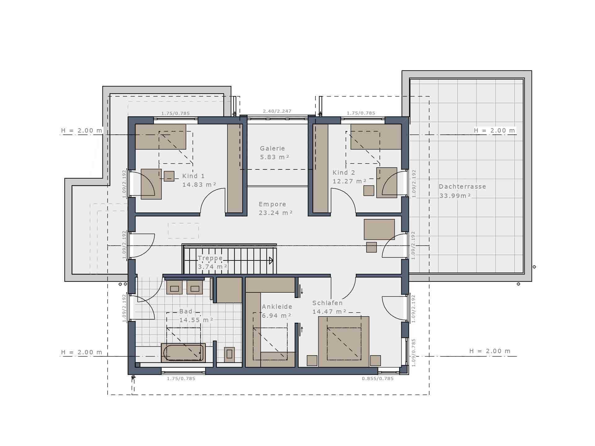 Musterhaus Fellbach – Selection-E-235 - Ein Screenshot eines Videospiels - Gebäudeplan