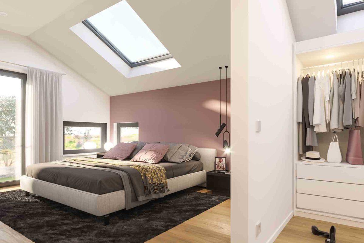 Musterhaus Fellbach – Selection-E-235 - Ein Schlafzimmer mit einem Bett in einem Raum - Bettrahmen