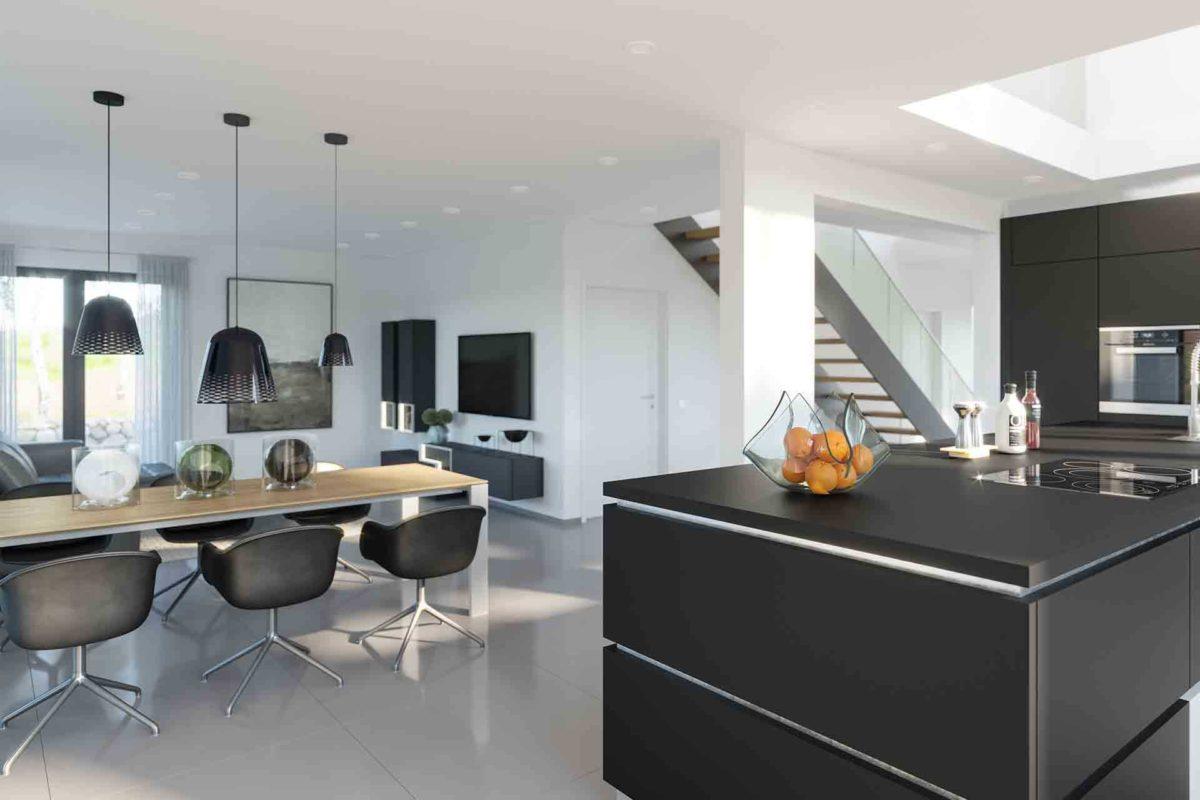 Musterhaus Fellbach – Selection-E-235 - Eine Küche mit einer Insel mitten in einem Raum - Musterhaus