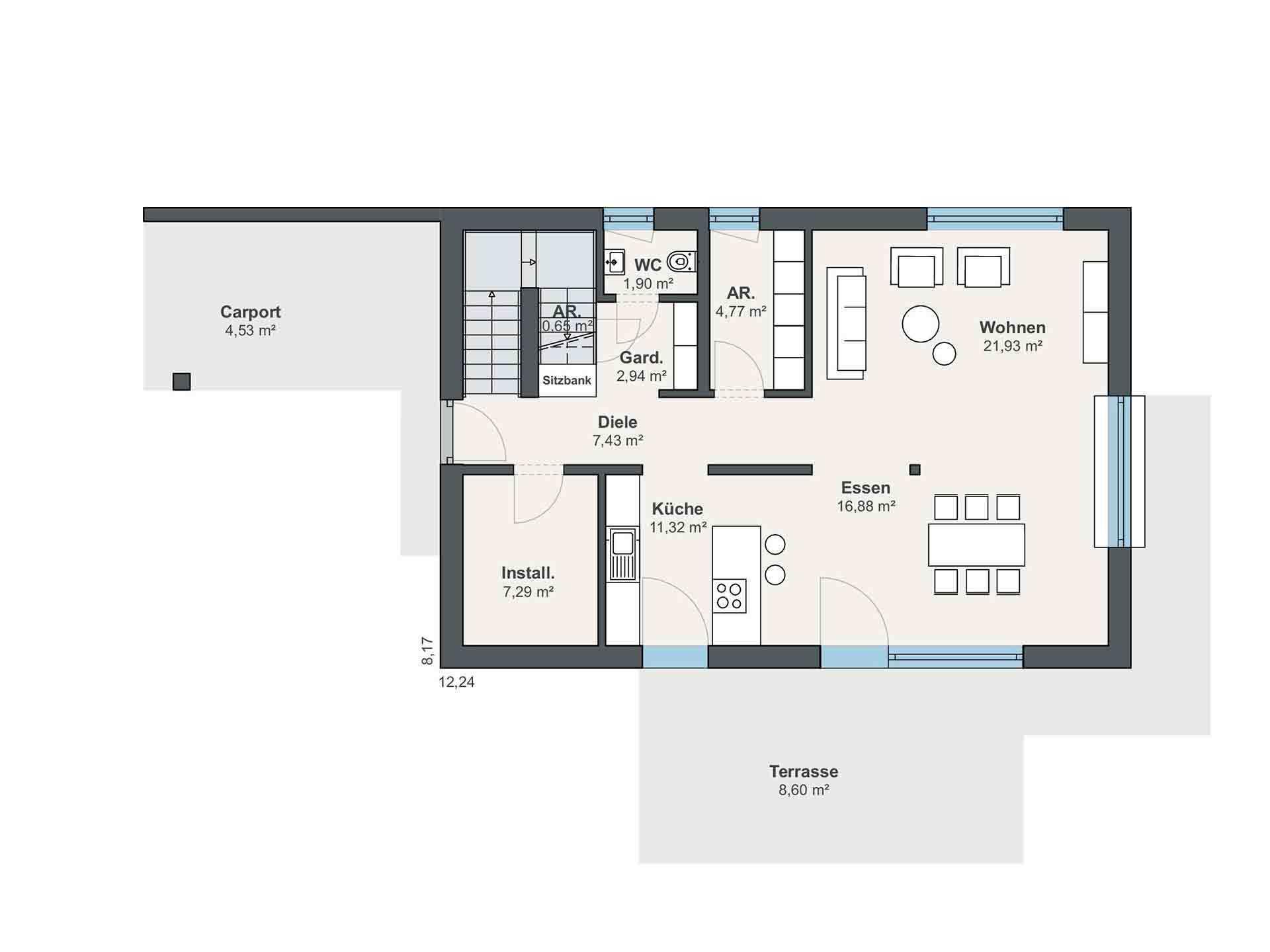Musterhaus Sunshine - Ein Screenshot eines Handys - Gebäudeplan