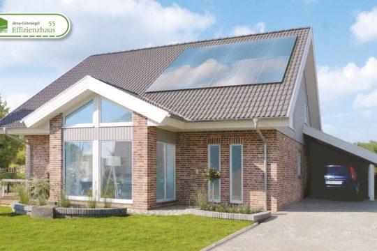 Musterhaus Engelsby - Ein großes Backsteingebäude mit Gras vor einem Haus - Danhaus GmbH