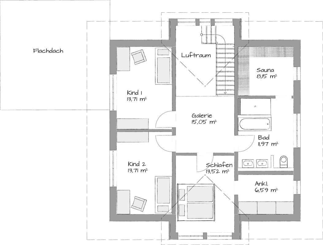 Musterhaus Heßdorf - Eine Nahaufnahme von einer Karte - Gebäudeplan