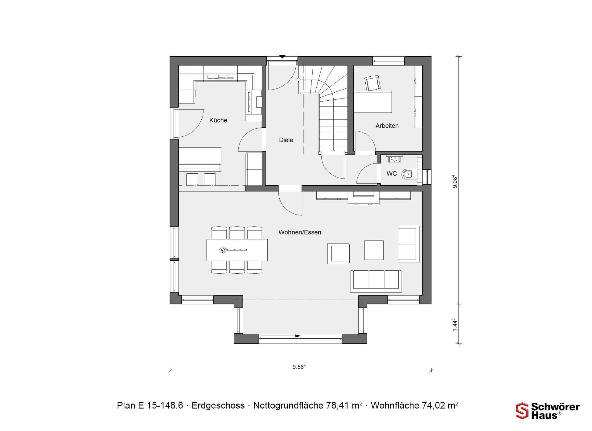 Musterhaus Offenburg - Eine Nahaufnahme von einem Logo - Gebäudeplan