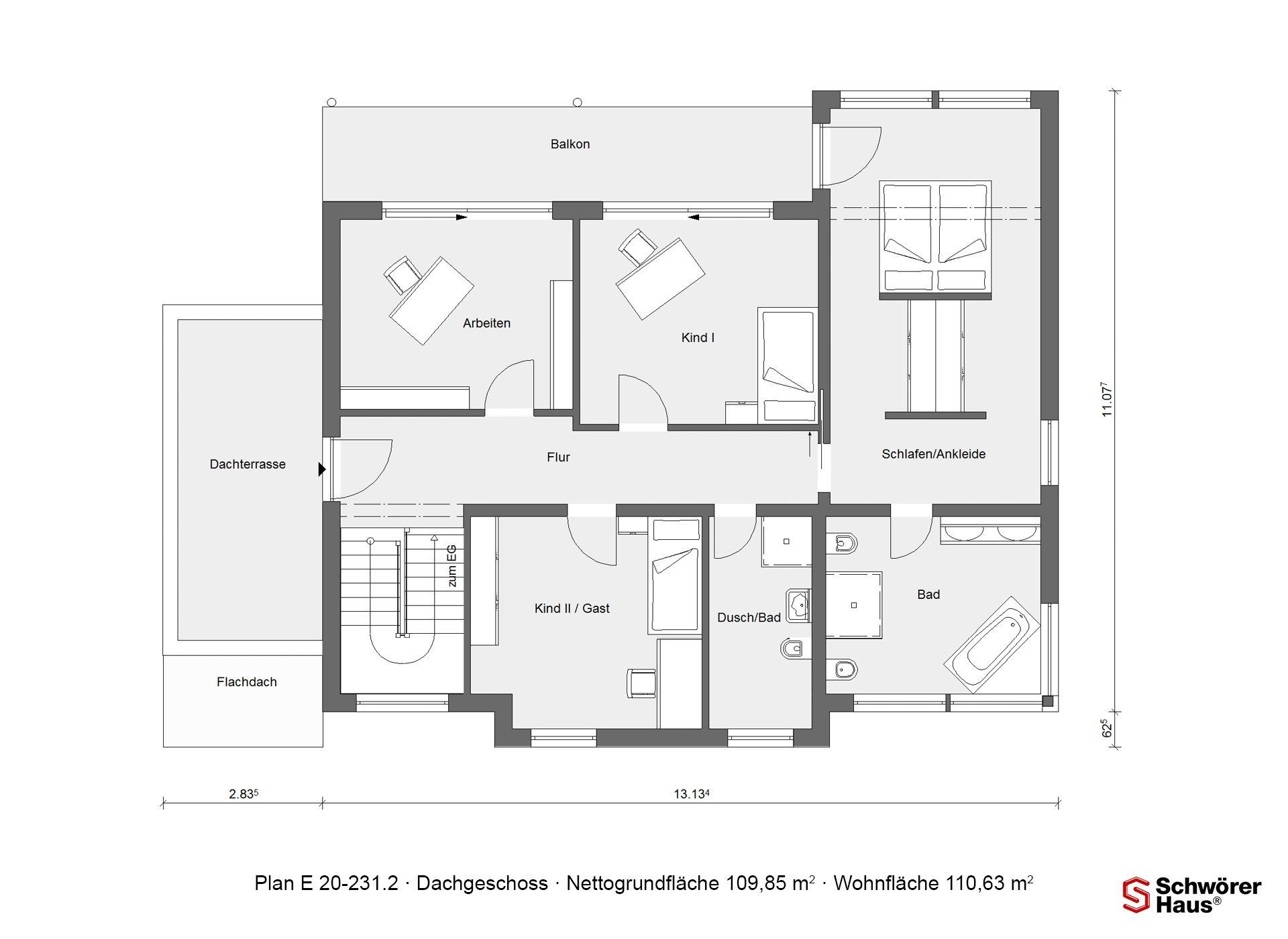 Modernes Z-Dach - Eine nahaufnahme von text auf einem weißen hintergrund - Gebäudeplan