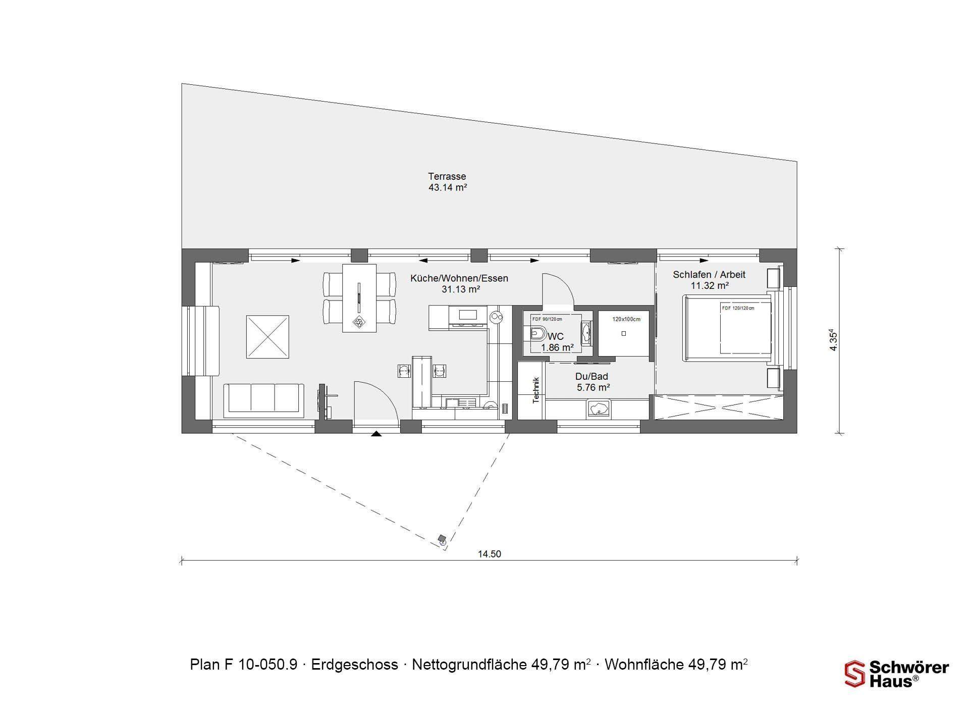 Wohnidee FlyingSpace - Ein Screenshot eines Handys - Gebäudeplan