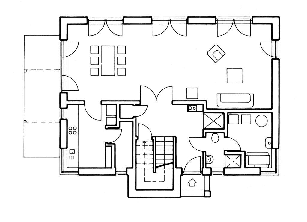 Außen Landhaus, innen Bauhaus - Eine Nahaufnahme von einem Logo - Gebäudeplan