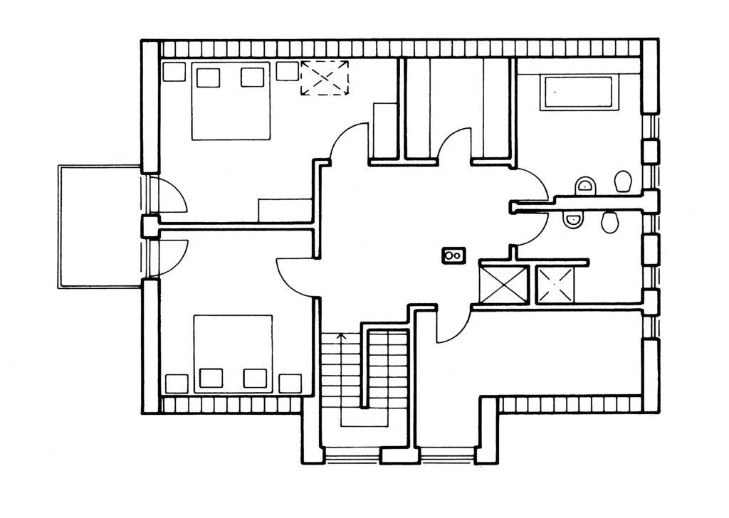Außen Landhaus, innen Bauhaus - Eine nahaufnahme von text auf einem schwarzen hintergrund - Gebäudeplan