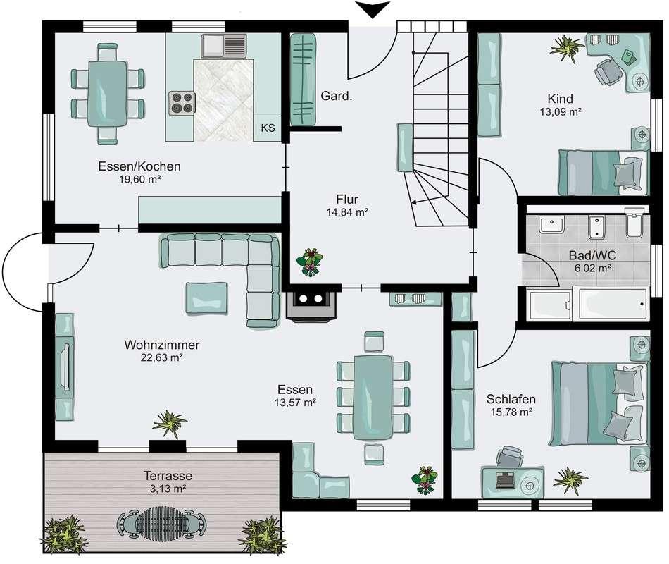Musterhaus Ulm - Ein Screenshot eines Handys - Gebäudeplan