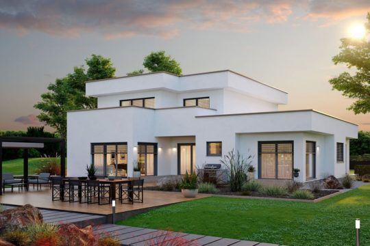 Konzept 251 - Ein großes Backsteingebäude mit Gras vor einem Haus - Fertighaus