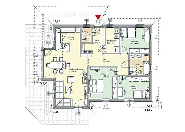 Bungalow 114 - Eine Nahaufnahme von einer Karte - Gebäudeplan