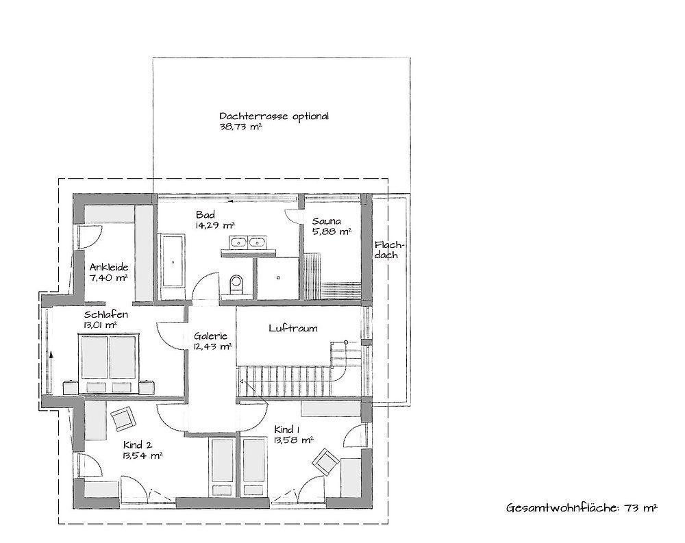 Stadtvilla SETROS 3.2010 - Eine Nahaufnahme von einer Karte - Gebäudeplan