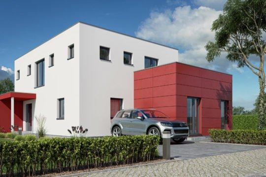 Haas S 154 D, Flachdach - Ein Garten vor einem Haus - Haus