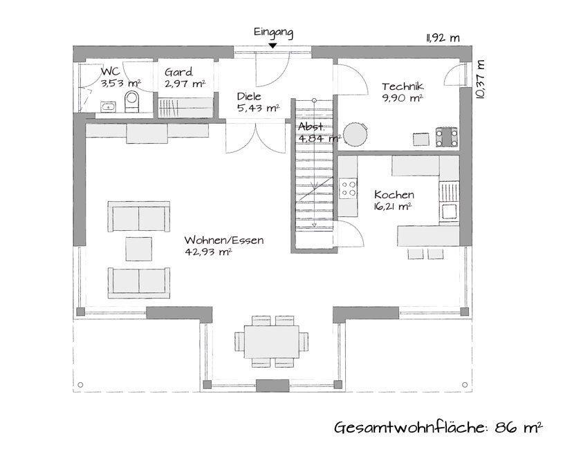 Stadtvilla SETROS 3.1720 - Eine Nahaufnahme von einer Karte - Gebäudeplan