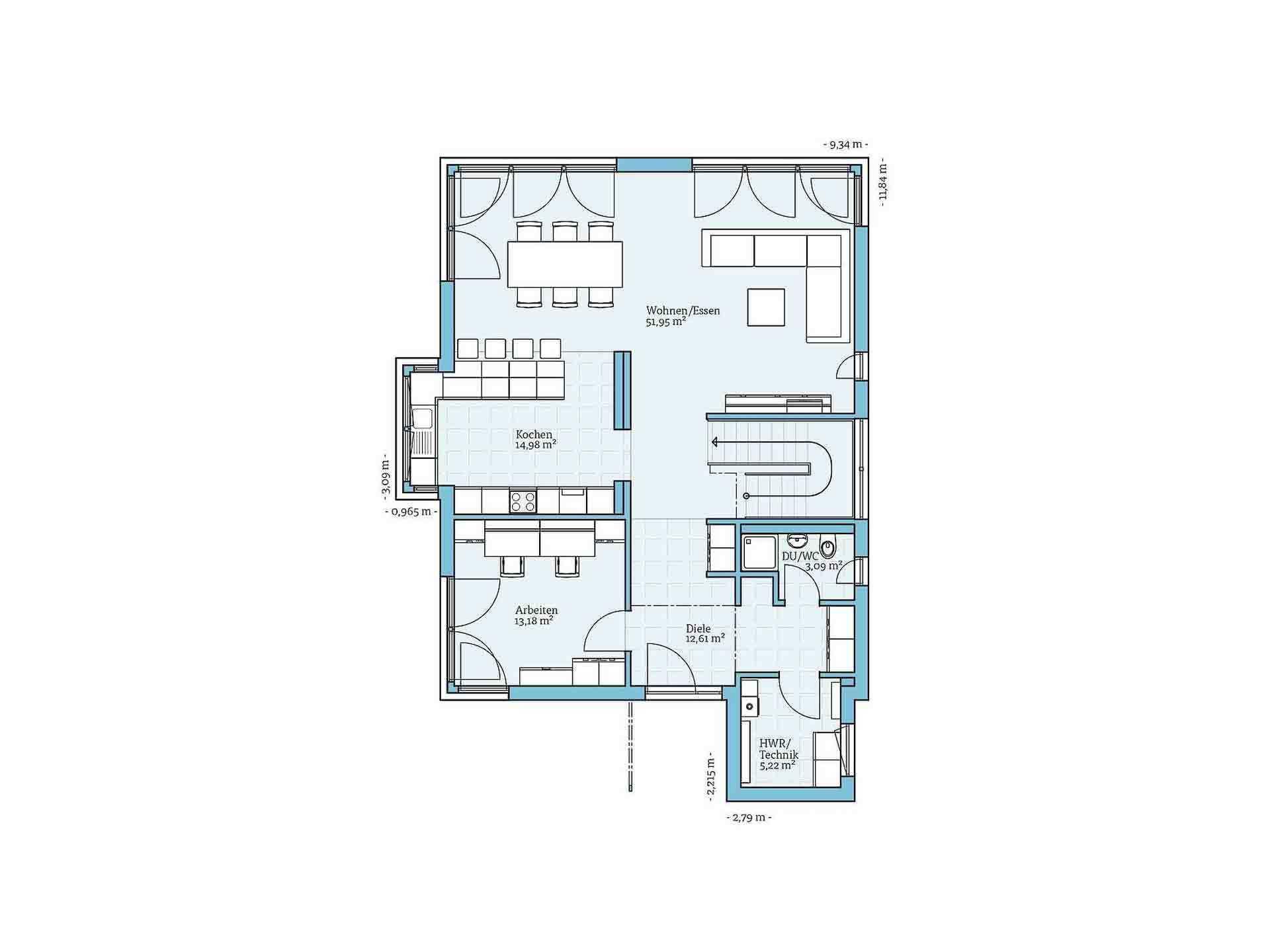Fertighaus Villa 189 - Eine Nahaufnahme einer Uhr - Gebäudeplan