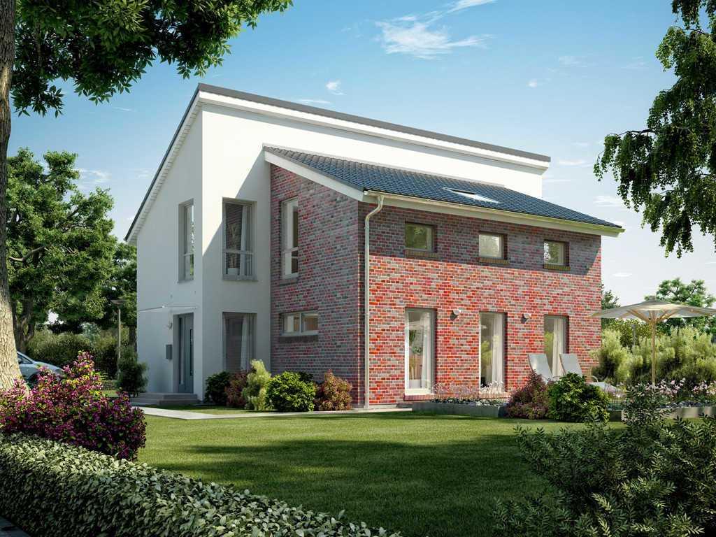 Automatisch gespeicherter Entwurf - Ein Haus mit Büschen vor einem Backsteingebäude - Musterhauszentrum Mülheim-Kärlich