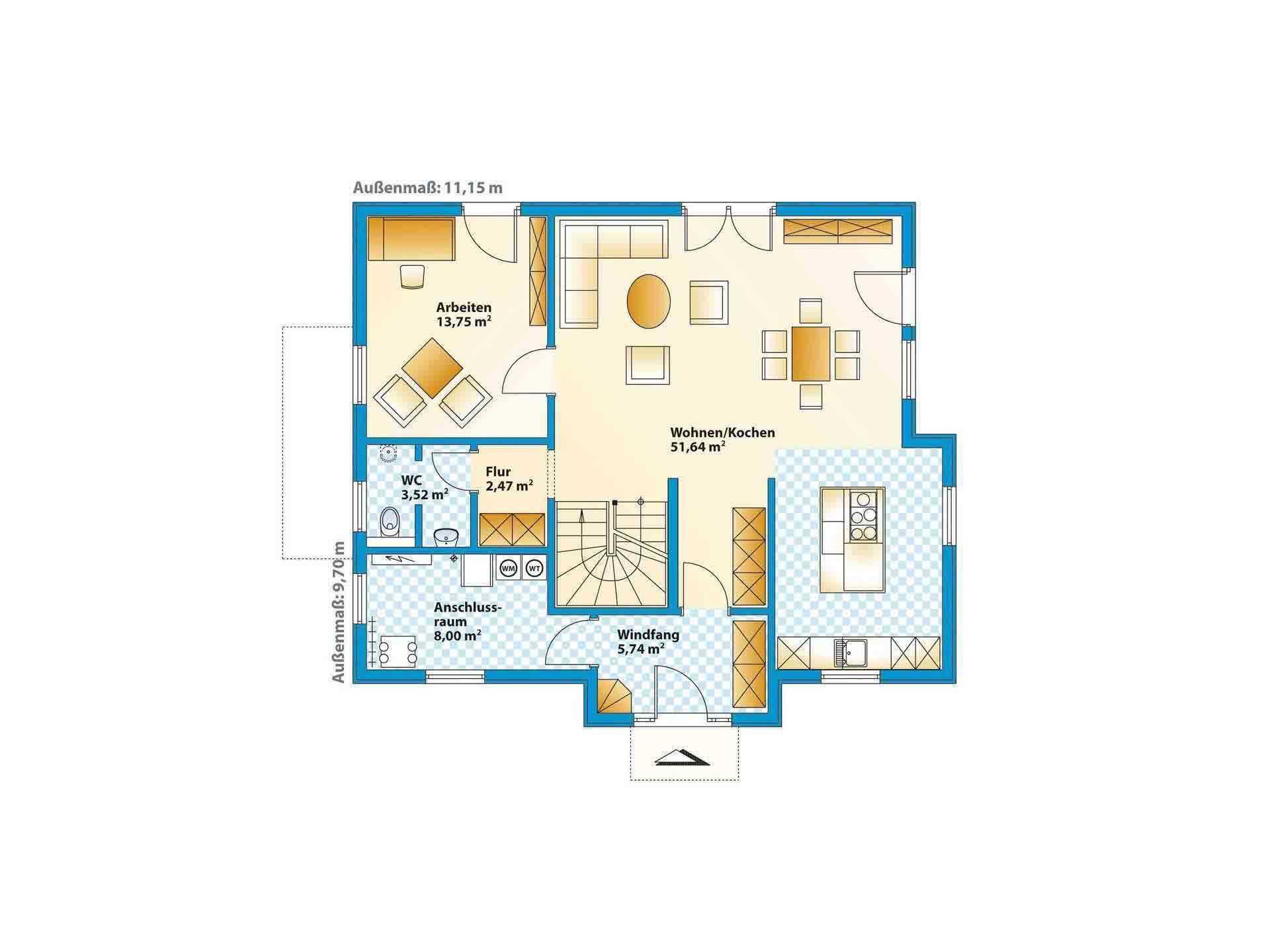 Musterhaus Jazz - Eine Nahaufnahme von einer Karte - Gebäudeplan
