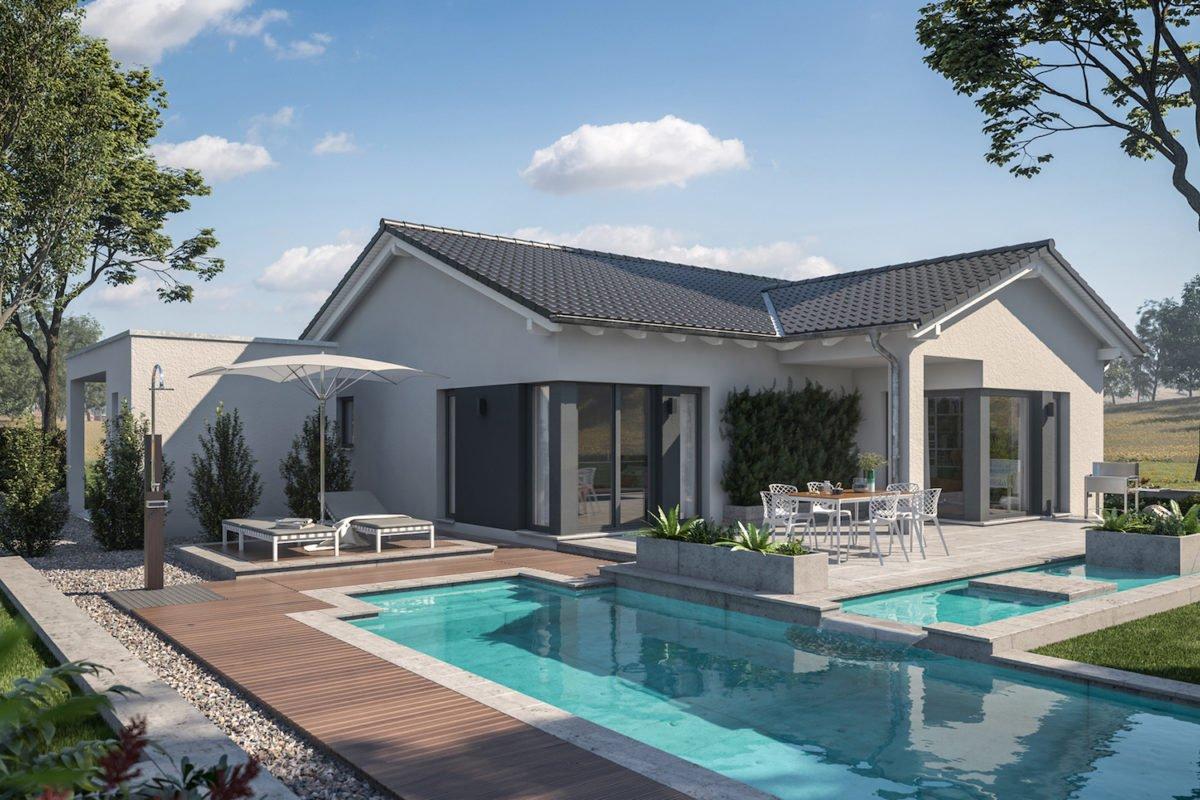 Automatisch gespeicherter Entwurf - Ein Haus mit einem Pool außerhalb eines Gebäudes - Bungalow
