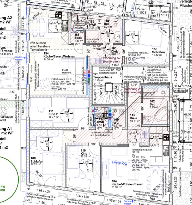 Kundenhaus Verges - Eine Nahaufnahme von einer Karte - Technische Zeichnung