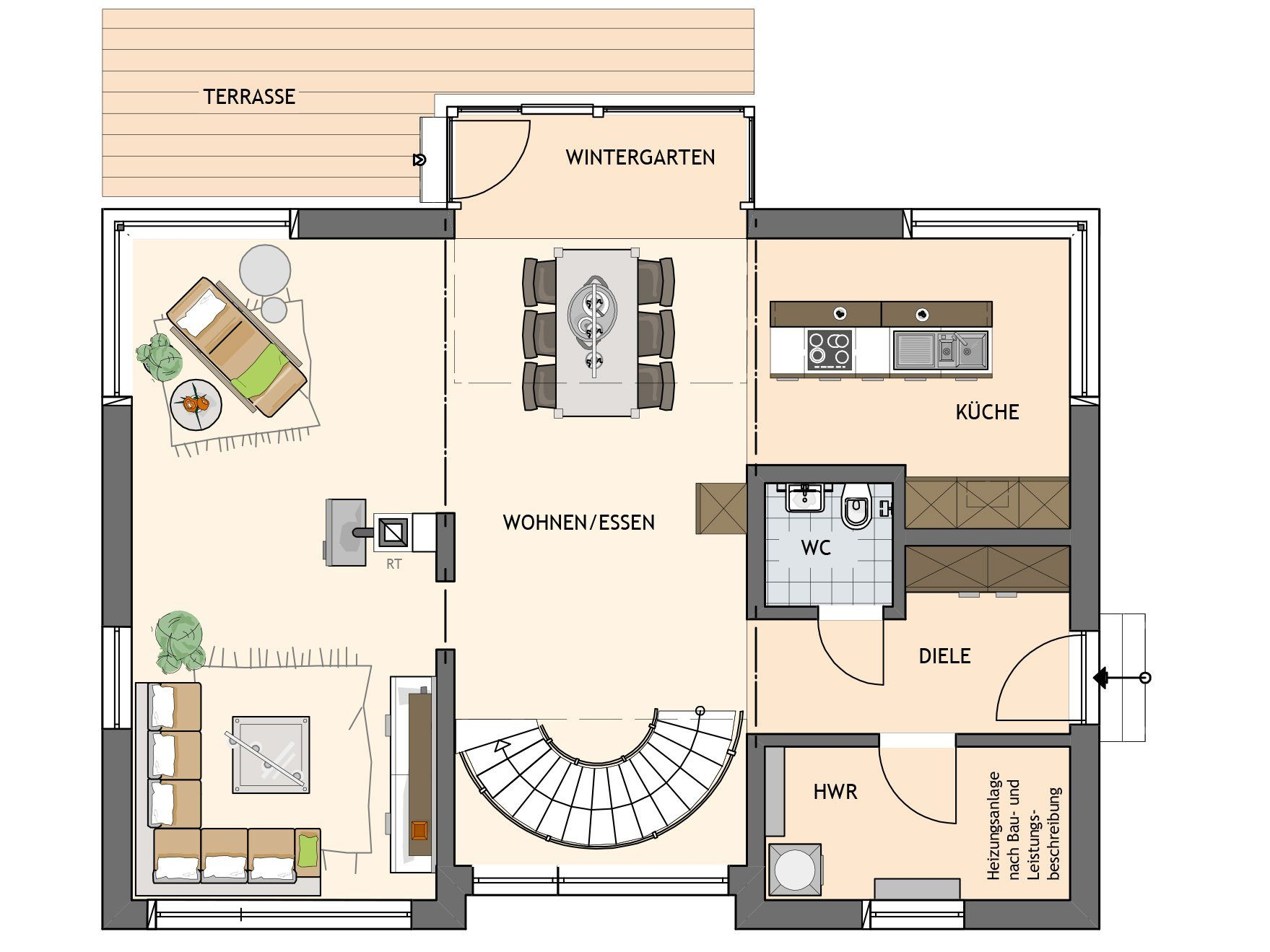 Kundehaus frei geplant - Ein Screenshot eines Videospiels - Gebäudeplan
