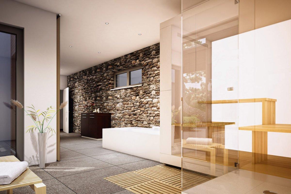 AMBIENCE 100 V2 - Ein Wohnzimmer mit Möbeln und einem großen Fenster - Haus-Plan