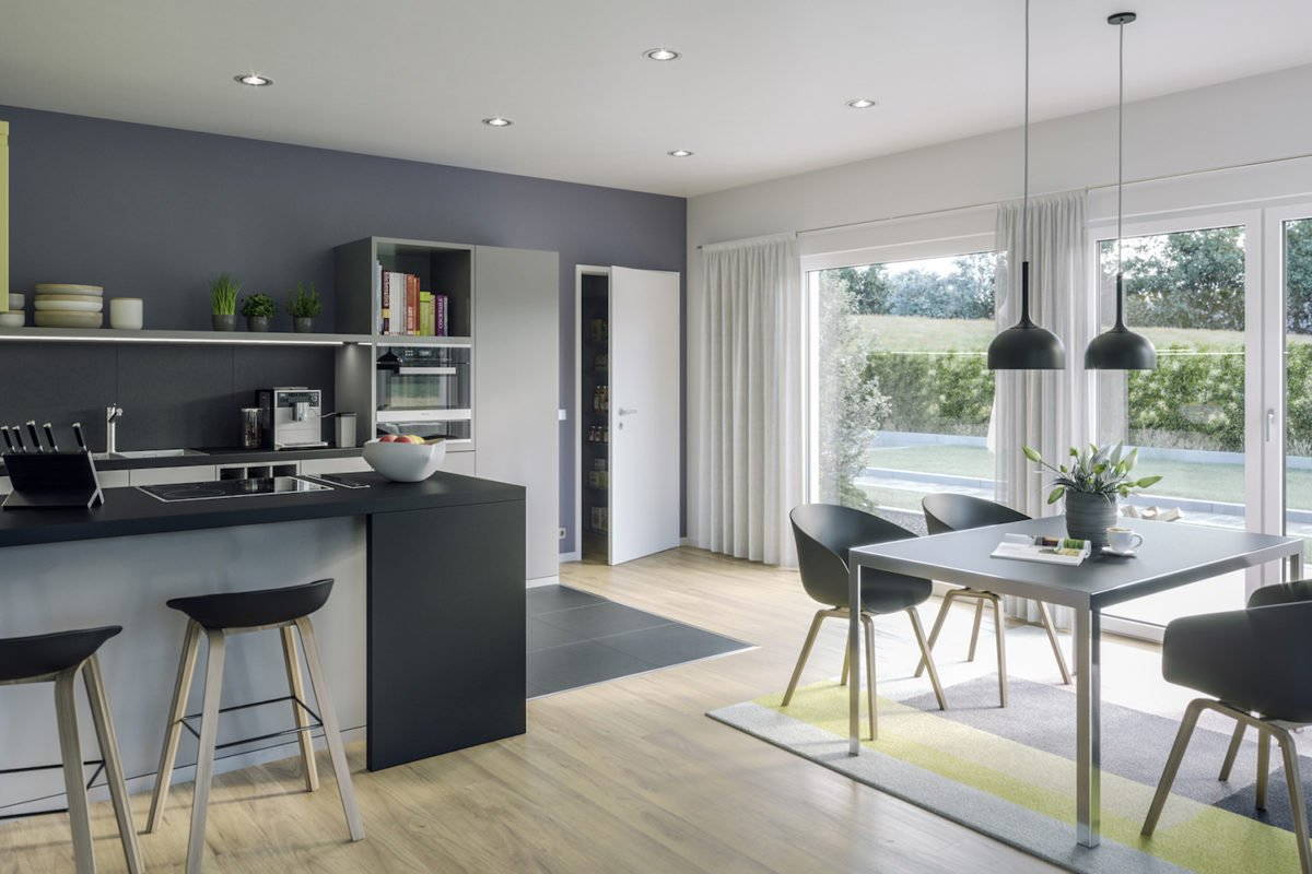 AMBIENCE 88 V3 - Ein Wohnzimmer mit Möbeln und einem großen Fenster - Haus-Plan