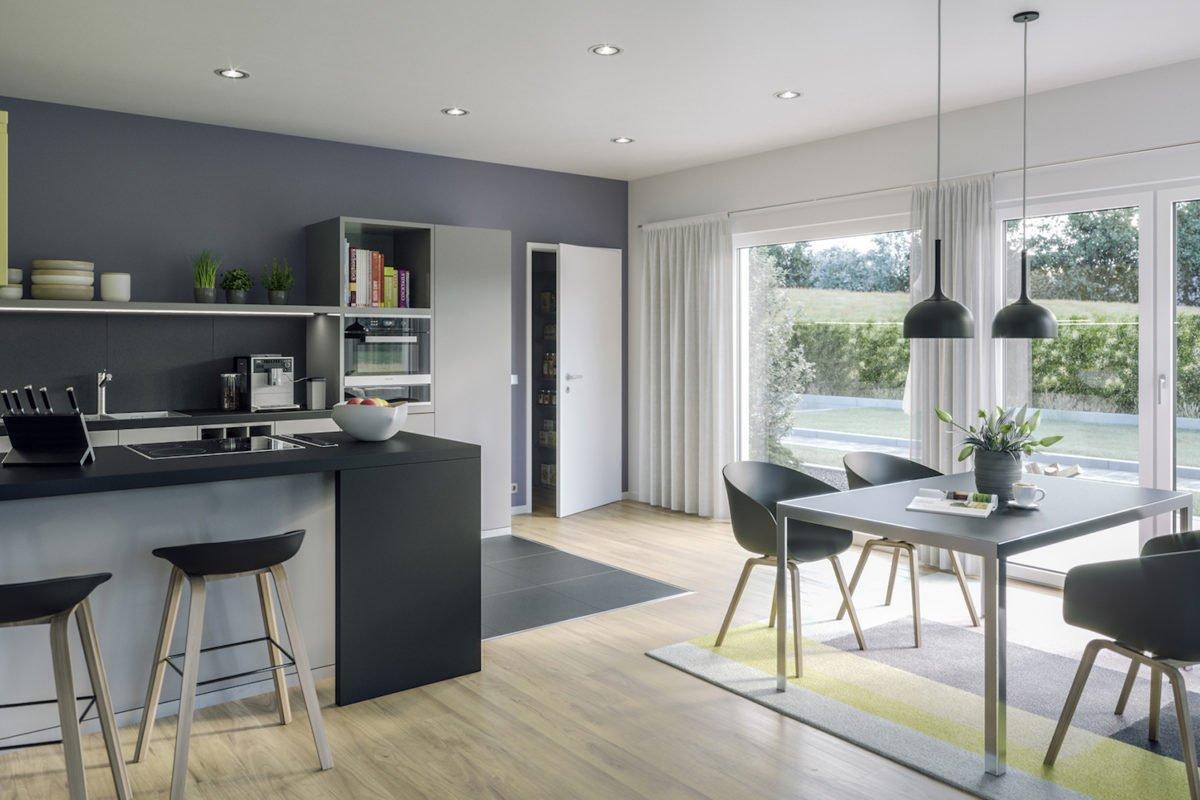 AMBIENCE 88 V4 - Ein Wohnzimmer mit Möbeln und einem großen Fenster - Haus-Plan