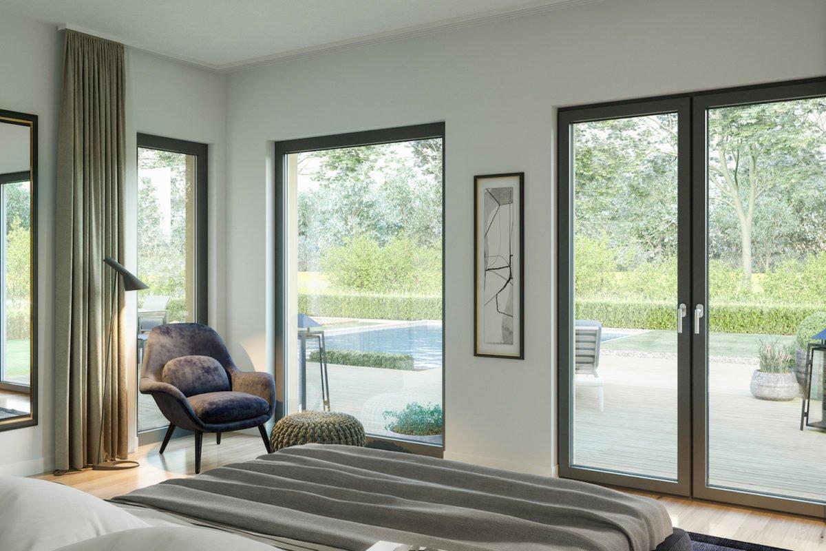 Automatisch gespeicherter Entwurf - Ein Wohnzimmer mit Möbeln und einem großen Fenster - Bungalow